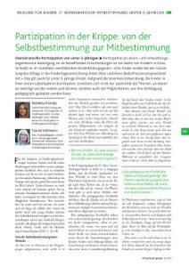 Kraneis, Vollmann (KiTa aktuell spezial 4/2016): Partizipation in der Krippe: von der Selbstbestimmung zur Mitbestimmung. (PDF, 542kB)